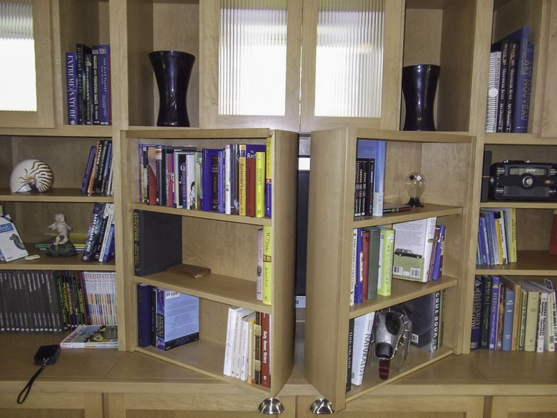 Bookshelves hiding TV